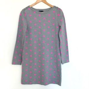 GAP Gray Pink Heart Print Long Sleeves Shift Dress